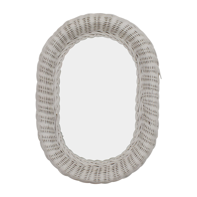 shop Vintage Oval White Wicker Mirror Mirrors