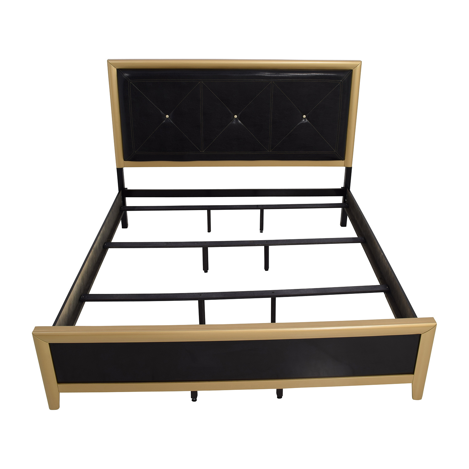 Coaster Furniture Black with Gold and Leather Eastern King Bed sale