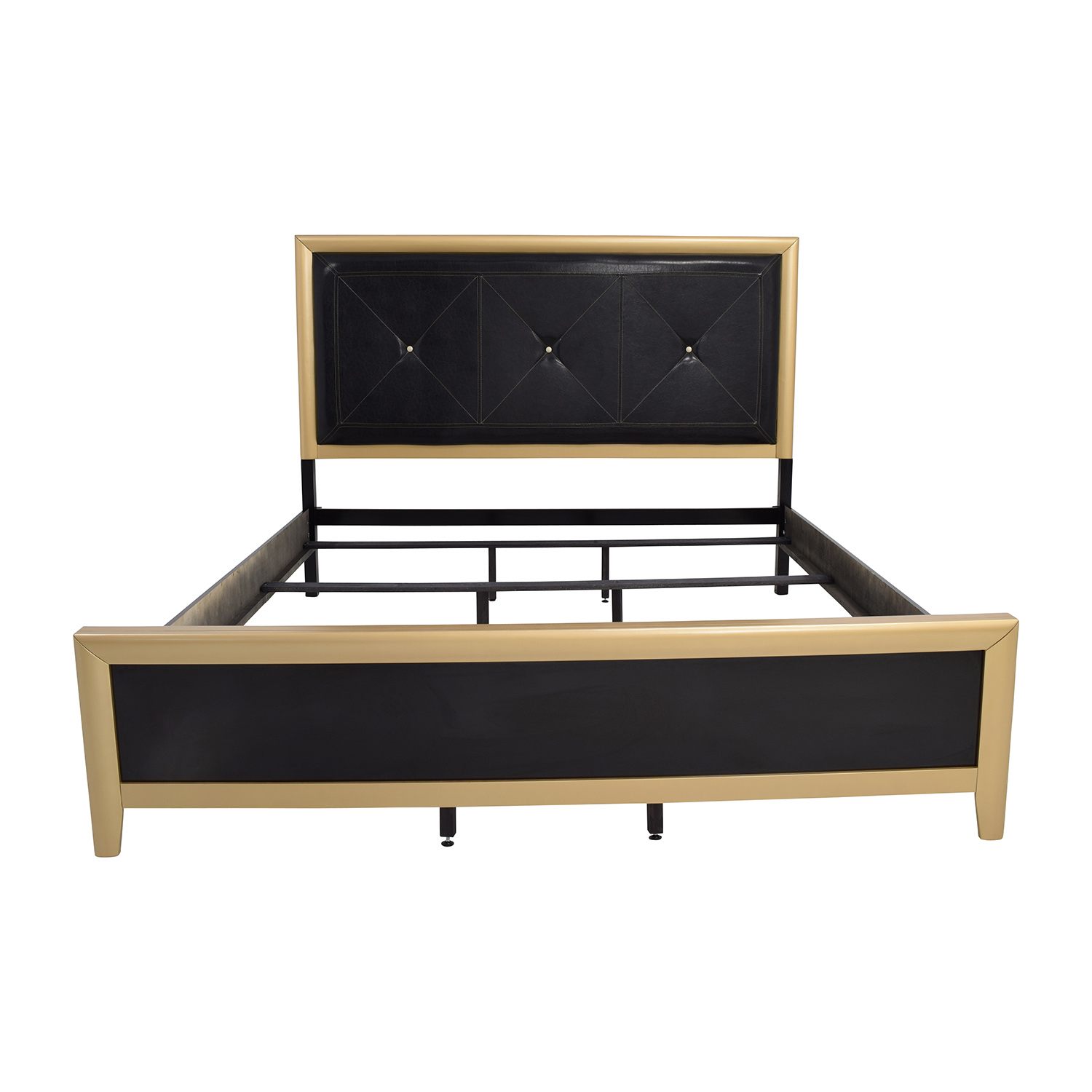 Coaster Furniture Black with Gold and Leather Eastern King Bed / Bed Frames