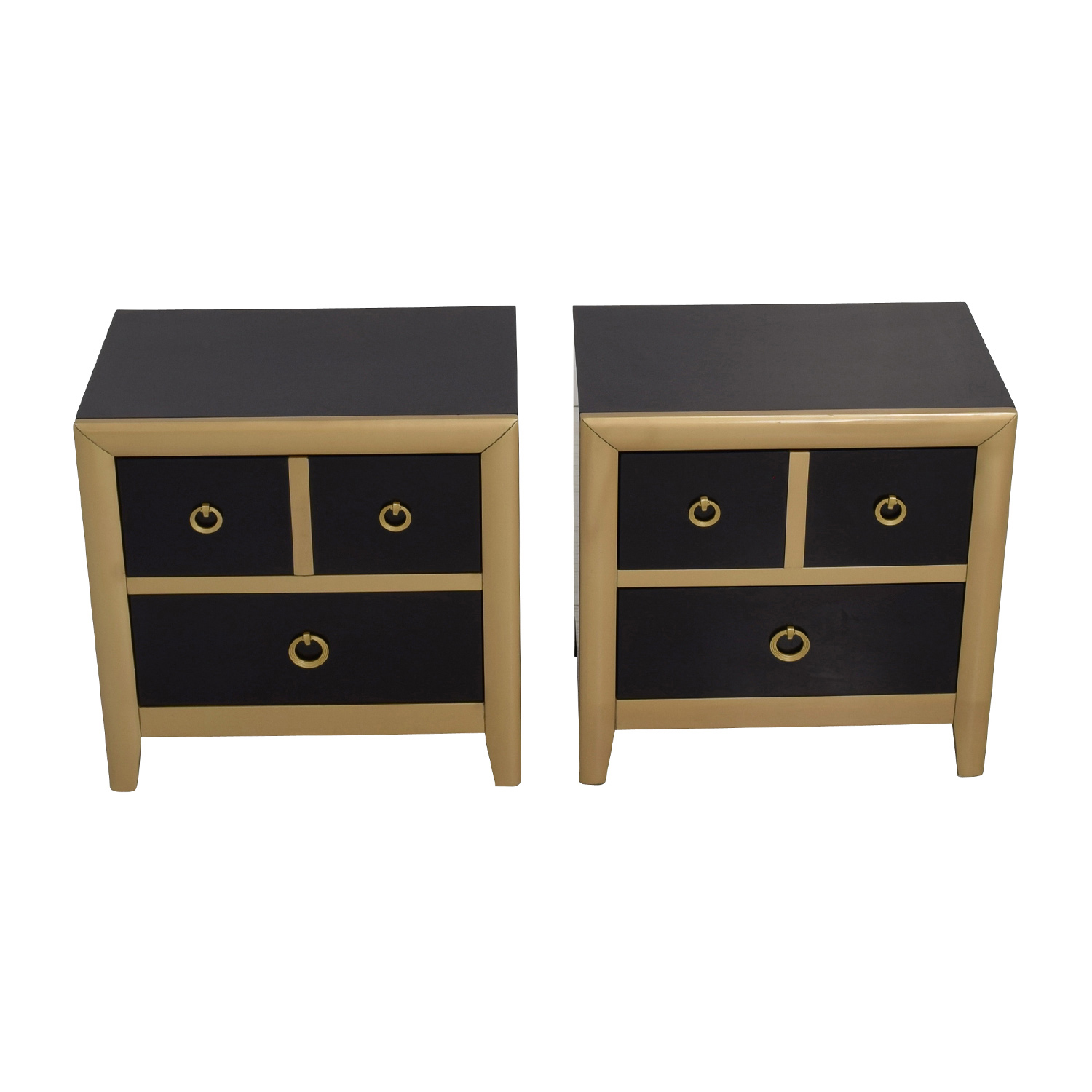 Coaster Furniture Coaster Furniture Black and Gold Two-Drawer Nightstands second hand