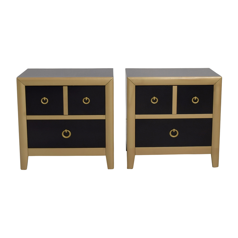 Coaster Furniture Coaster Furniture Black and Gold Two-Drawer Nightstands dimensions