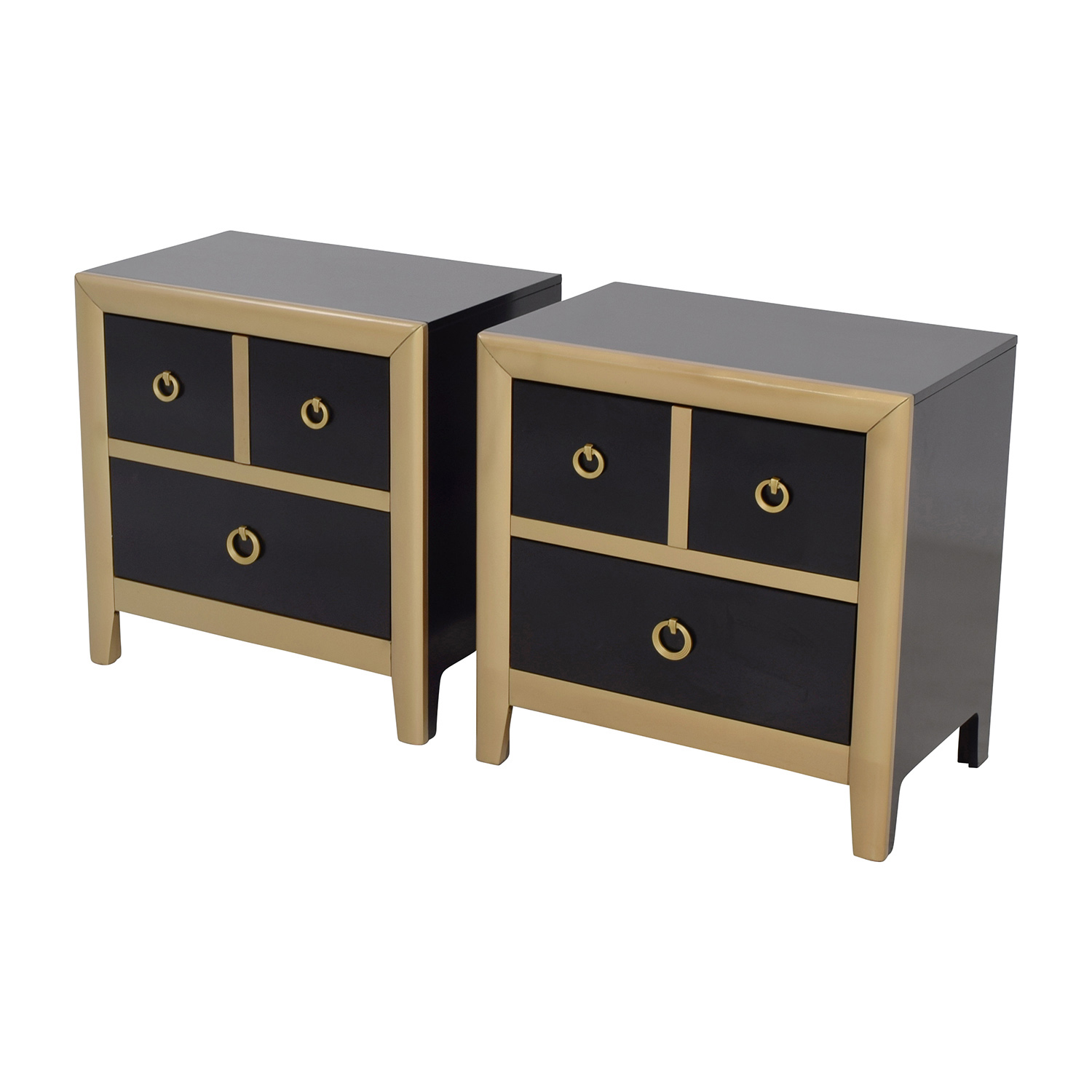 Coaster Furniture Coaster Furniture Black and Gold Two-Drawer Nightstands nyc