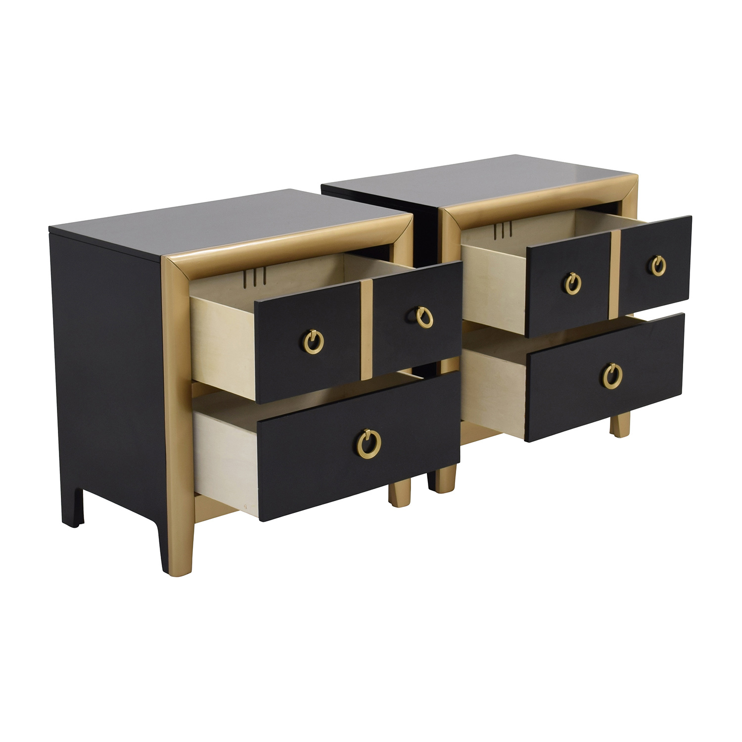 Coaster Furniture Coaster Furniture Black and Gold Two-Drawer Nightstands used