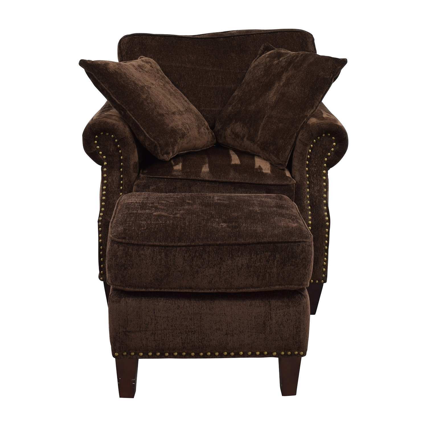 Bobs Furniture Bobs Furniture Mirage Studded Brown Sofa Chair and Ottoman used