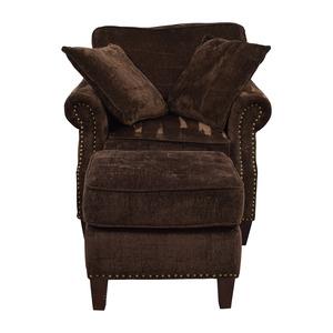 Bob's Discount Furniture Bob's Furniture Mirage Studded Brown Sofa Chair and Ottoman on sale
