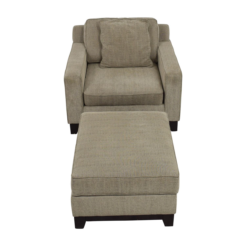 Macys Clarke Grey Chair and Ottoman sale