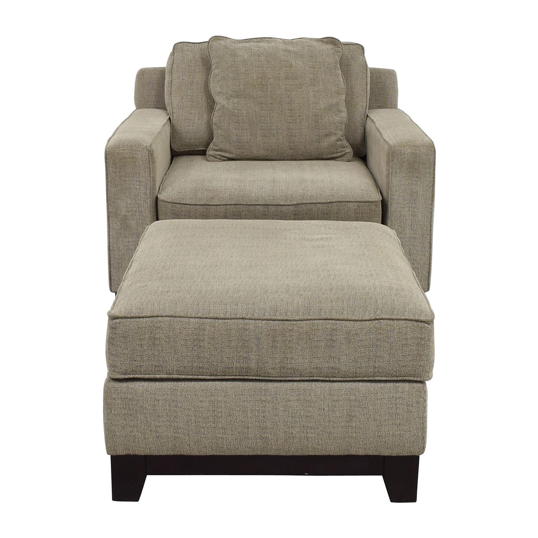 shop Macys Clarke Grey Chair and Ottoman Macys Chairs