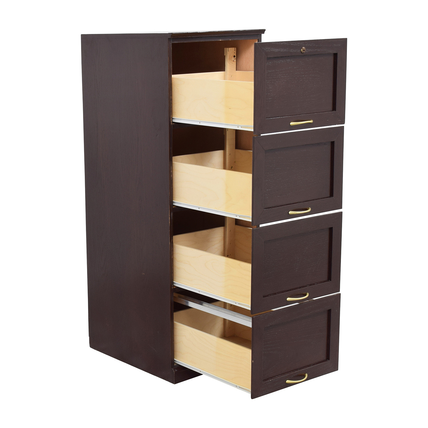 54% OFF - Tall Brown Wood File Cabinet / Storage