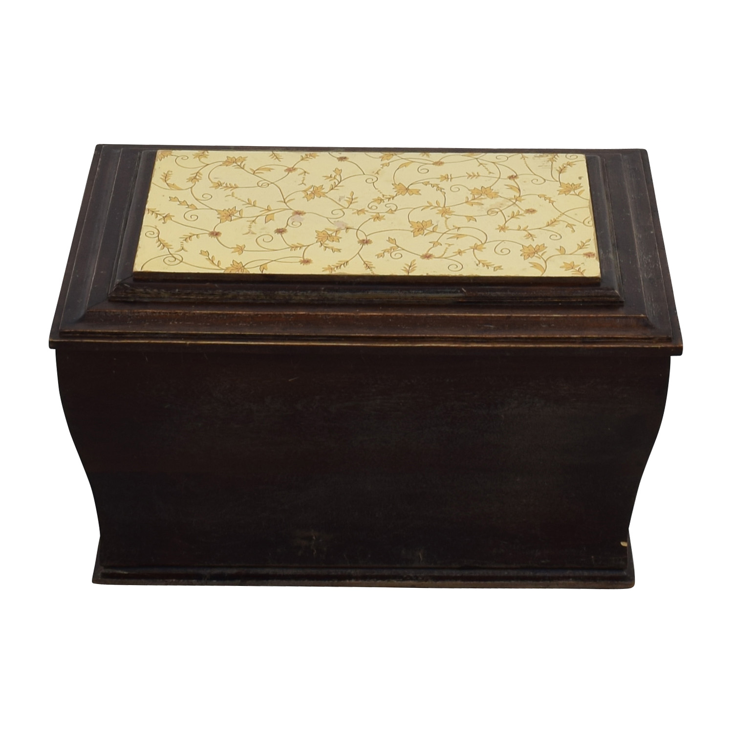 Wood Chest with Gold Flowered Suface used