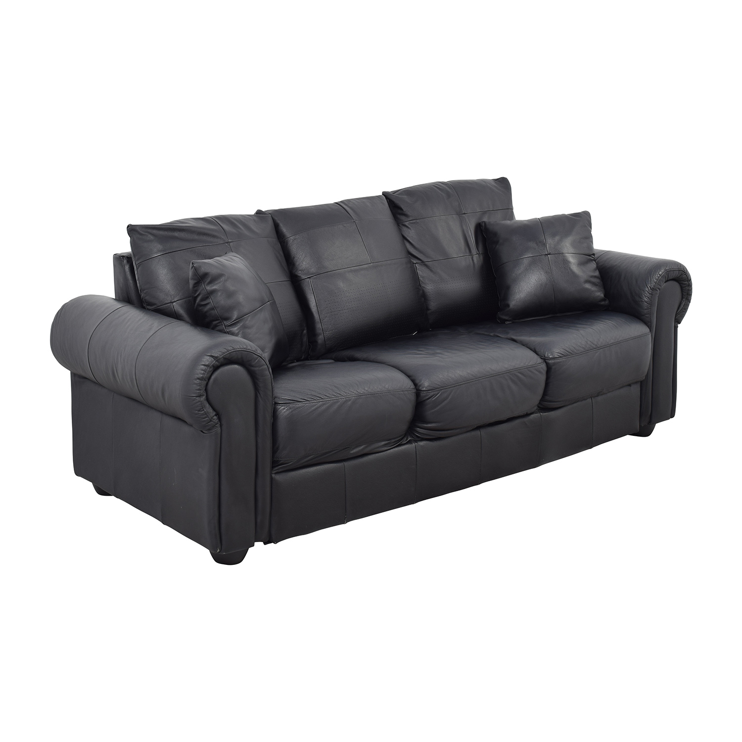 ABC Carpet & Home Black Leather Couch sale
