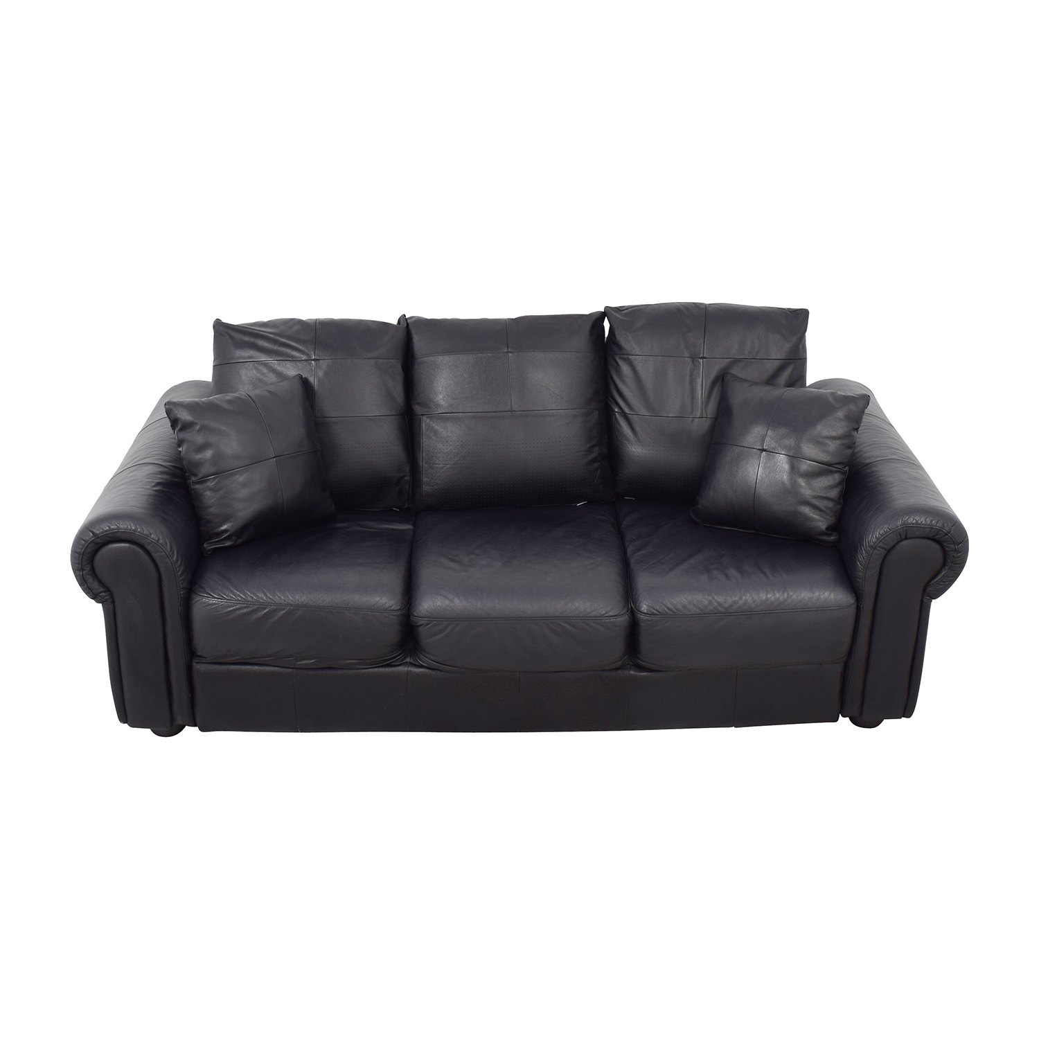 ABC Carpet and Home ABC Carpet & Home Black Leather Couch second hand