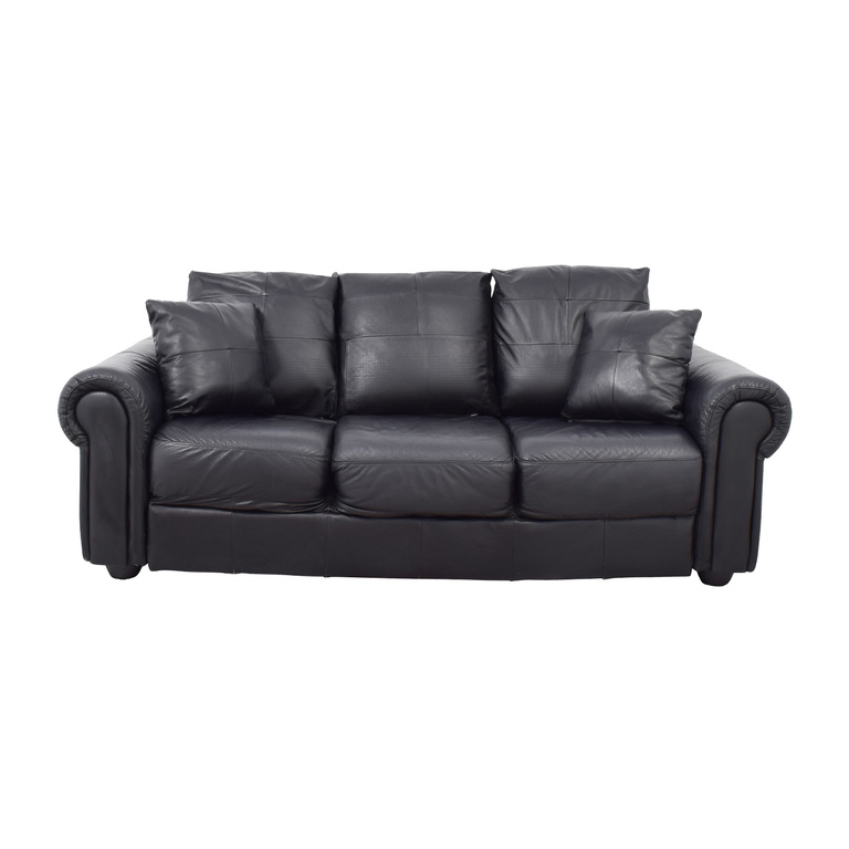 ABC Carpet & Home Black Leather Couch ABC Carpet and Home