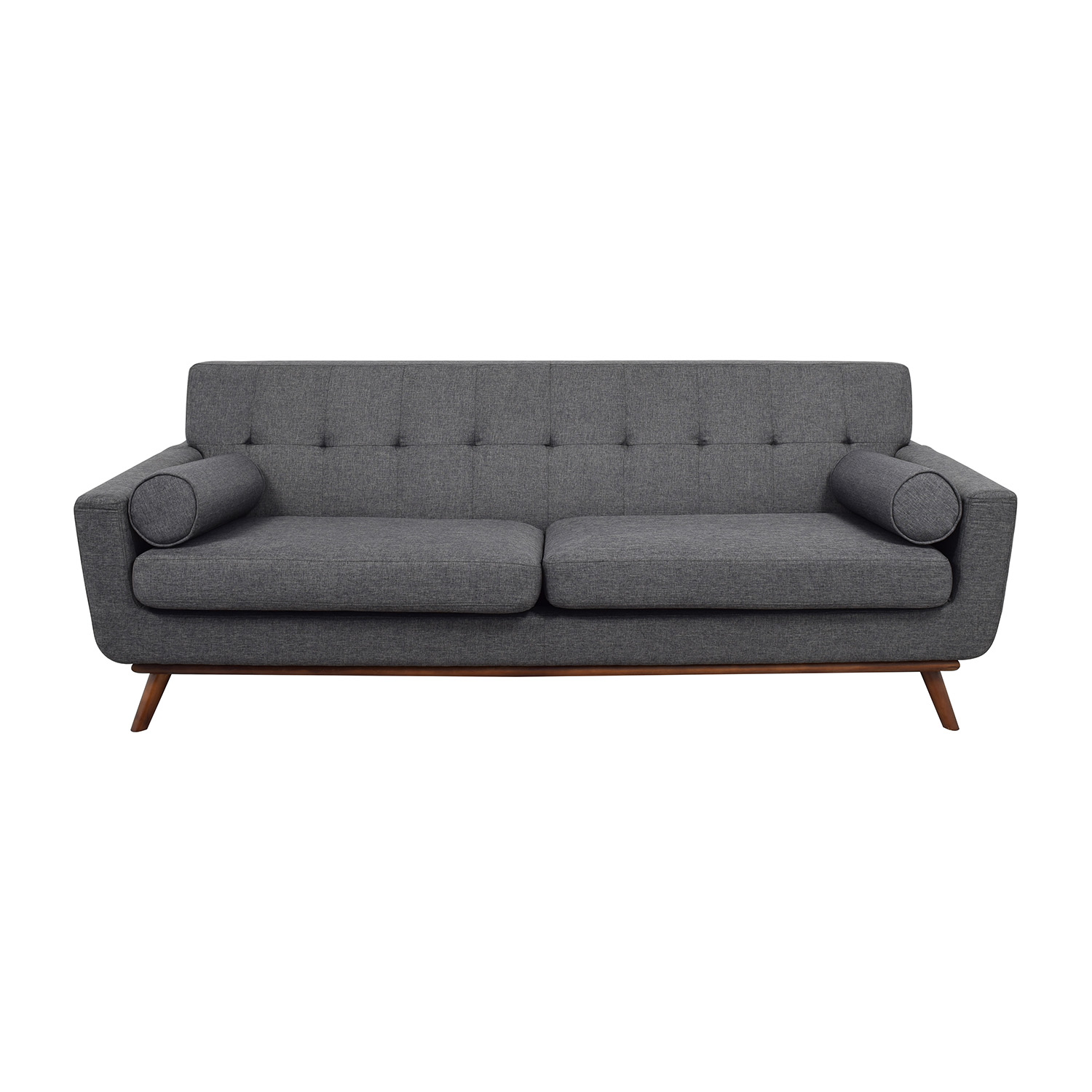 Inmod Inmod Charcoal Grey Tufted Lars Sofa with Pillows Sofas