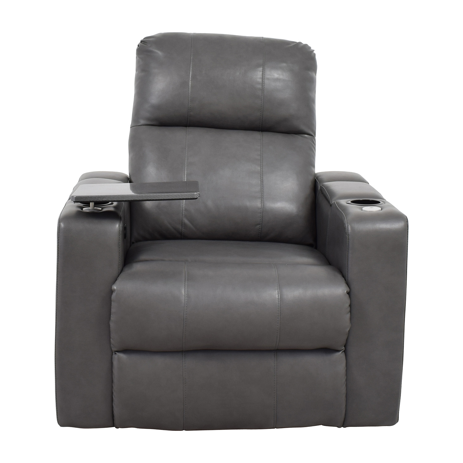Remarkable 90 Off Grey Leather Recliner With Storage And Usb Port Chairs Pabps2019 Chair Design Images Pabps2019Com