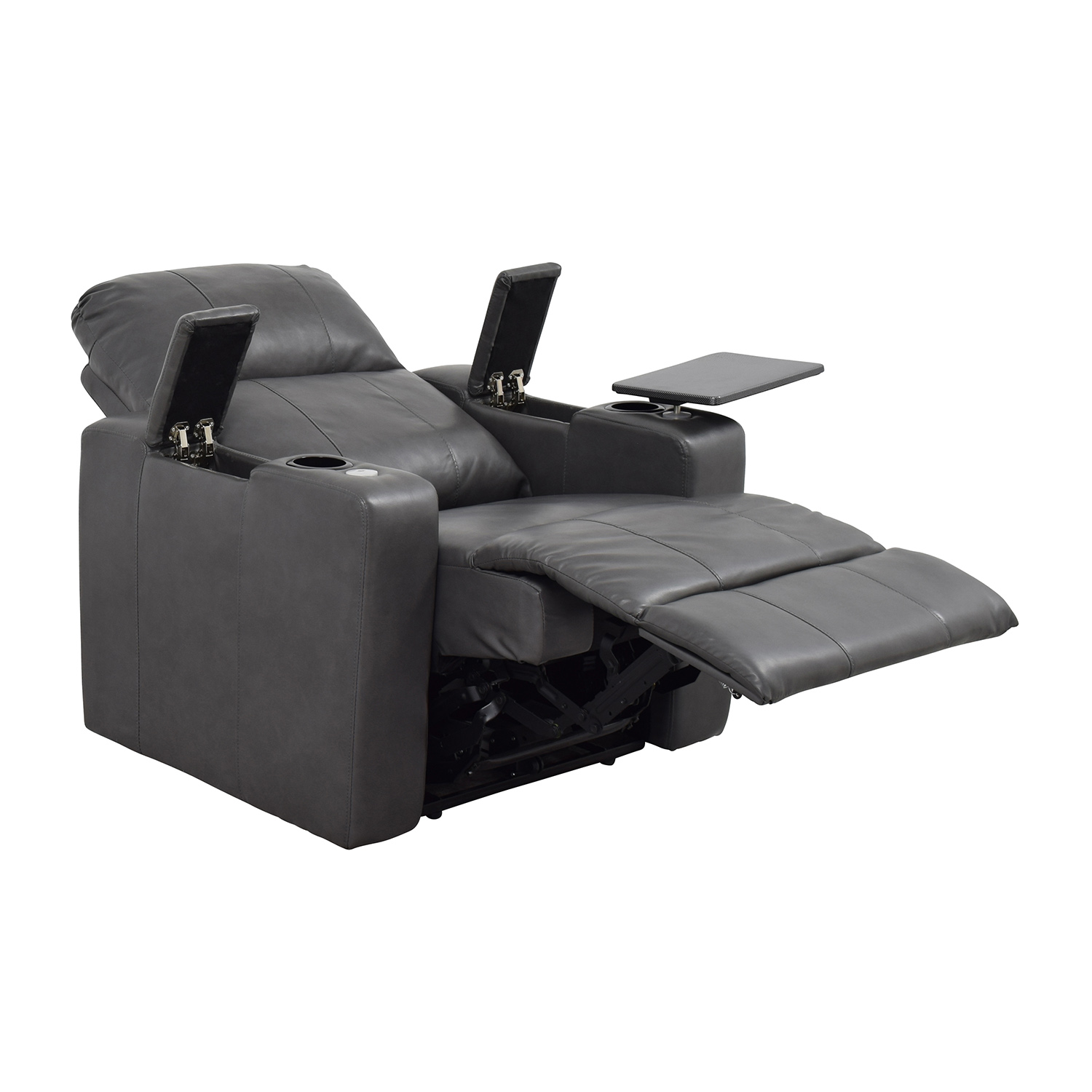 ... Grey Leather Recliner With Storage And USB Port Coupon ...