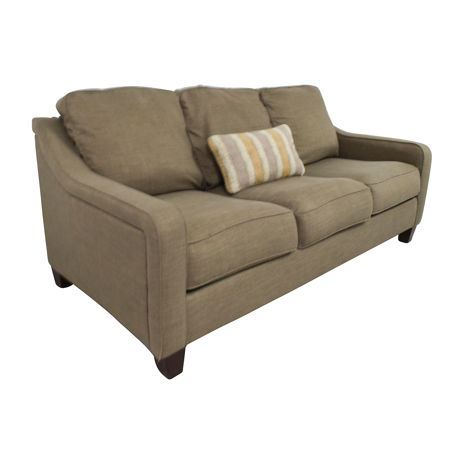 Throw Pillows Sofa : 55% OFF - Jennifer Furniture Jennifer Furniture Brown Three Seater Sofa with Throw Pillow / Sofas