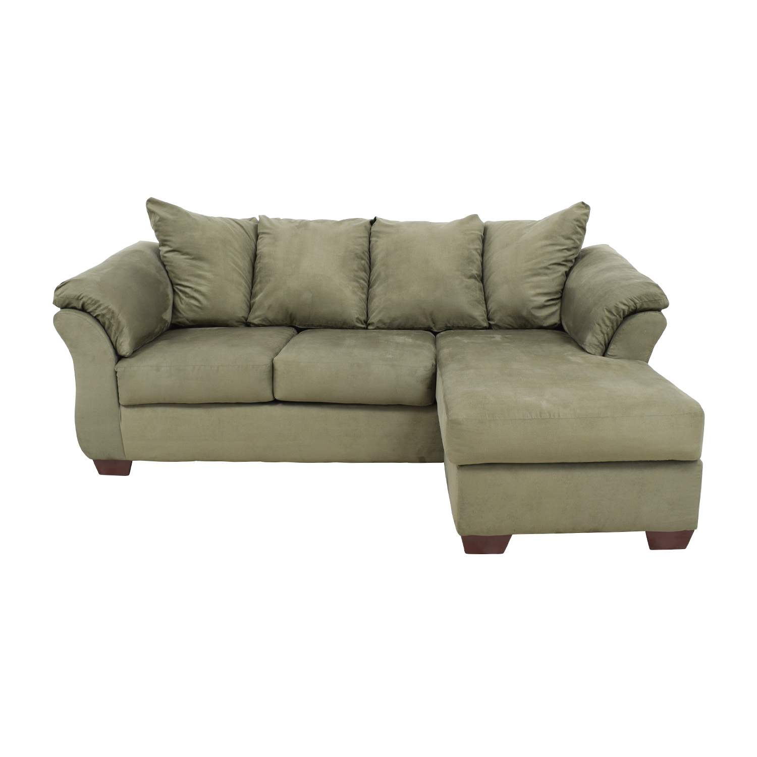 shop Raymour and Flanigan Green L-Shaped Sectional Raymour and Flanigan