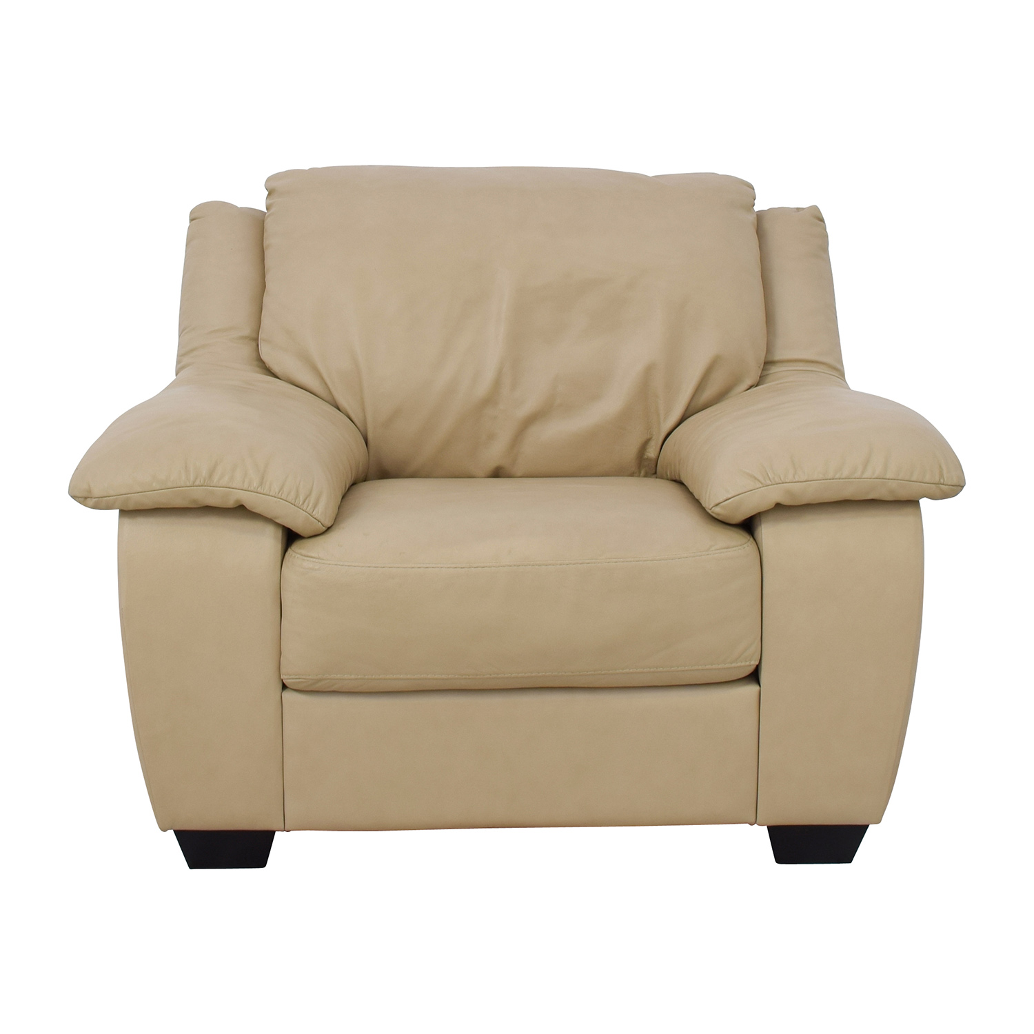 86 Off Natuzzi Italsofa Beige Leather Club Chair Chairs