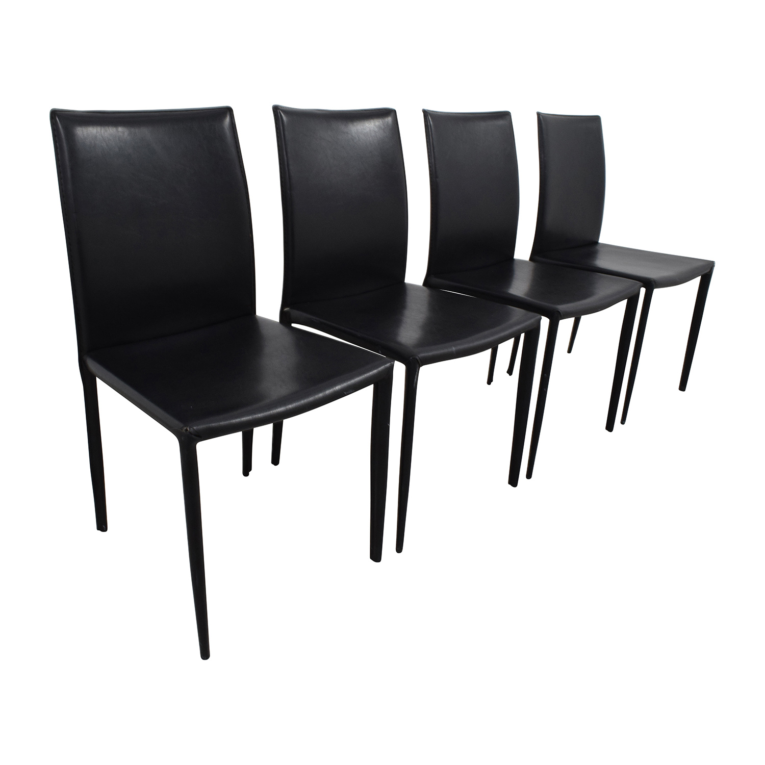 61 off set of four black leather chairs chairs. Black Bedroom Furniture Sets. Home Design Ideas