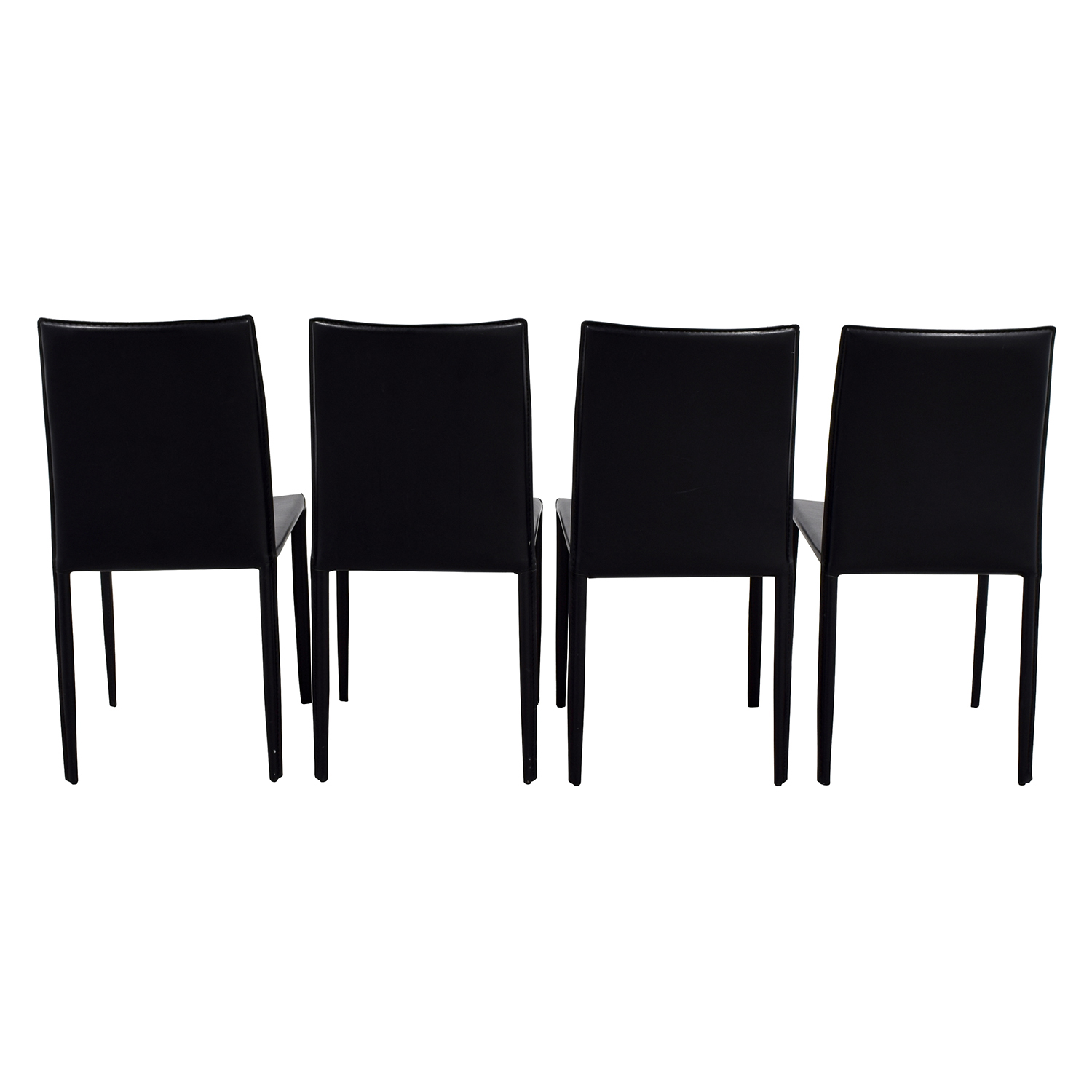 shop Set of Four Black Leather Chairs Chairs