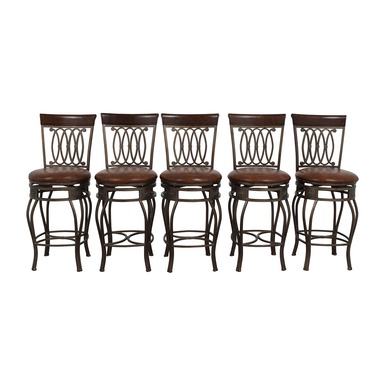 Brown Leather Swivel Bar Stools nyc