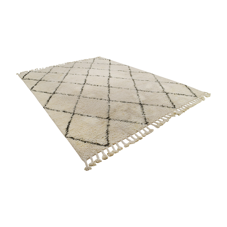 NuLOOM NuLOOM Moroccan Trellis Natural Shag Wool Rug nj