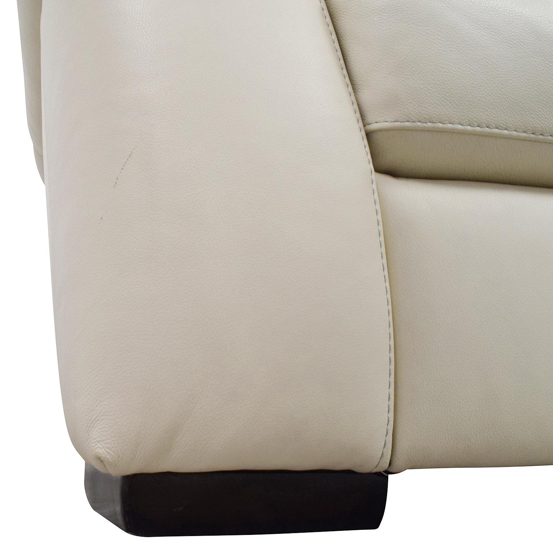 shop White Leather Three-Cushion Sofa Sofas