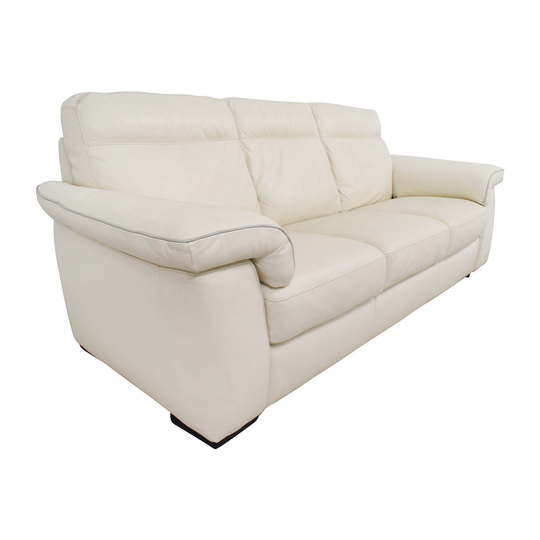 69 off white leather three cushion sofa sofas for White leather sofa