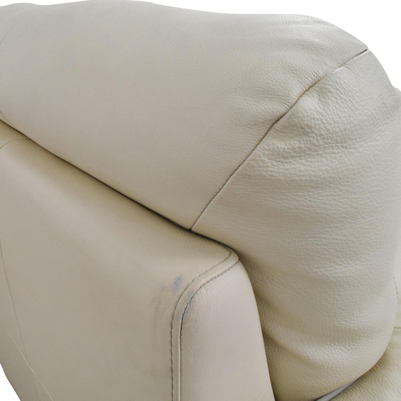 White Leather Three-Cushion Sofa nyc