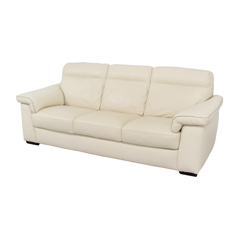 White Leather Three-Cushion Sofa coupon