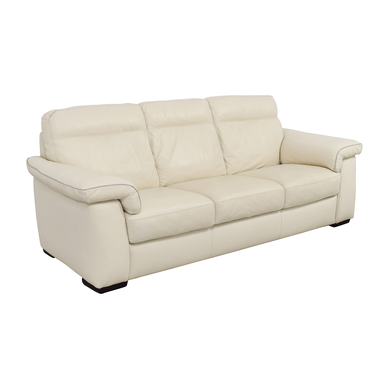 buy White Leather Three-Cushion Sofa