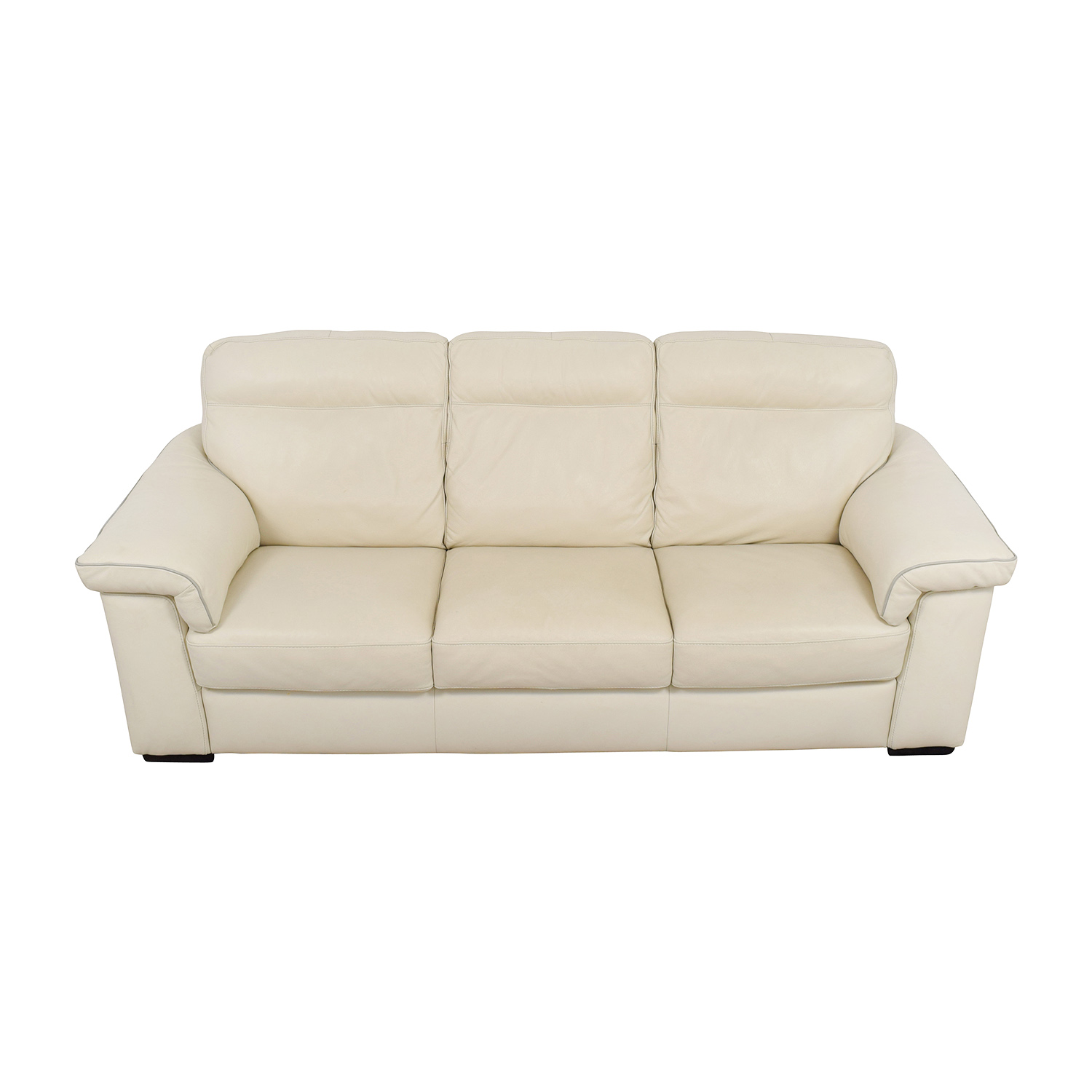 shop White Leather Three-Cushion Sofa Classic Sofas