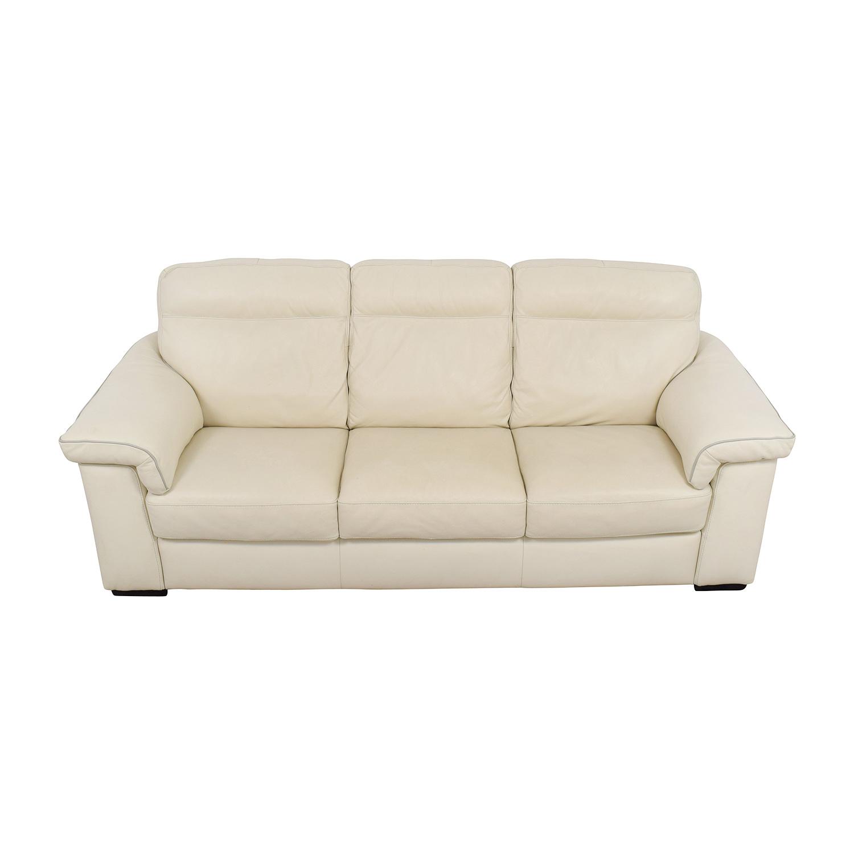 White Leather Three-Cushion Sofa Classic Sofas