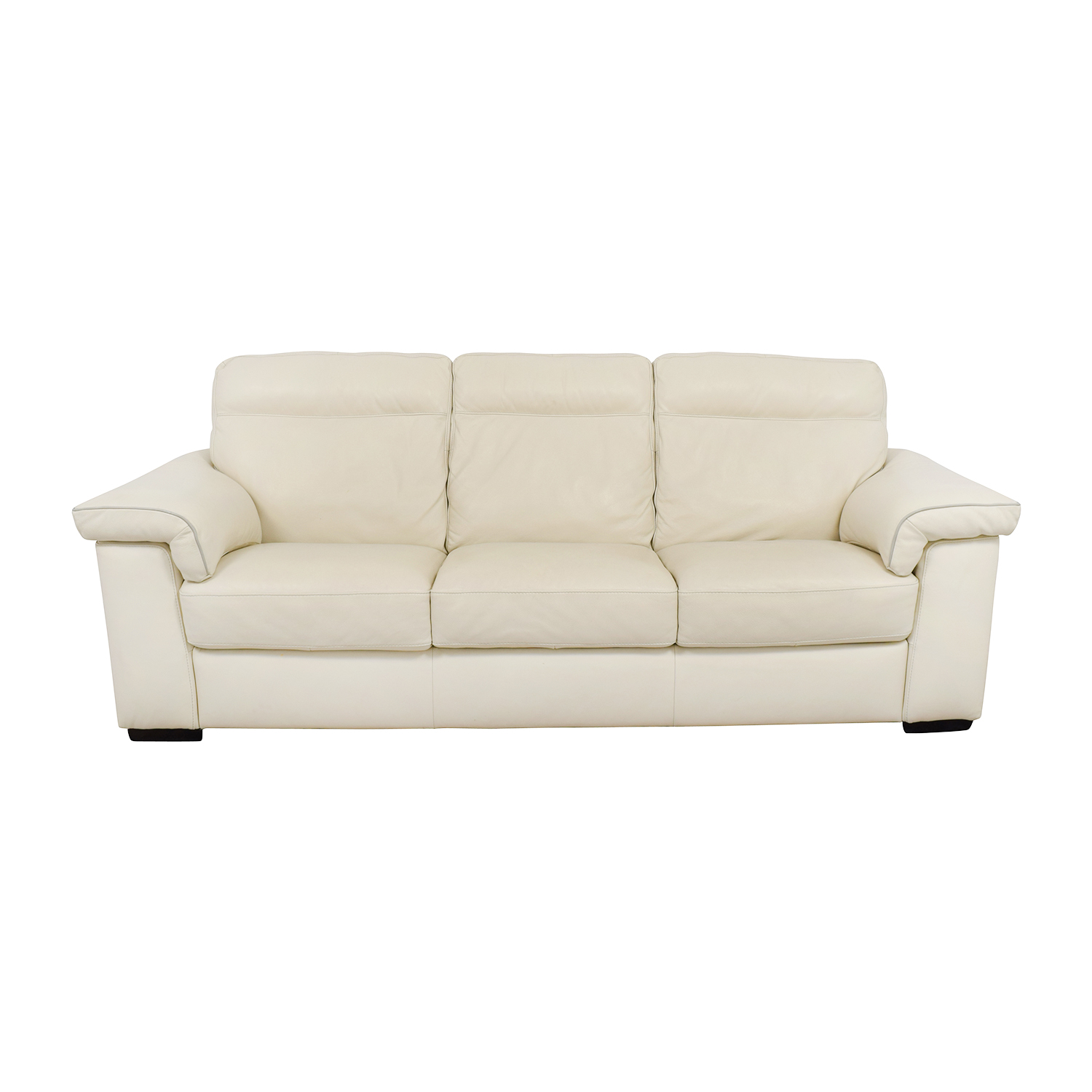 White Leather Three-Cushion Sofa price