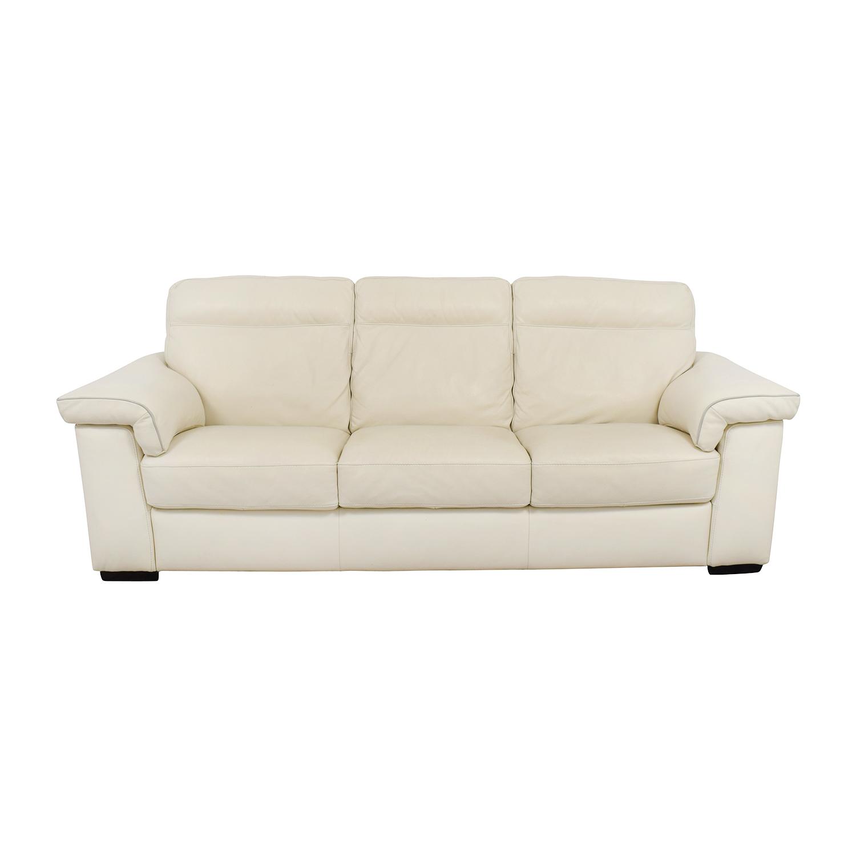 White Leather Three-Cushion Sofa / Sofas