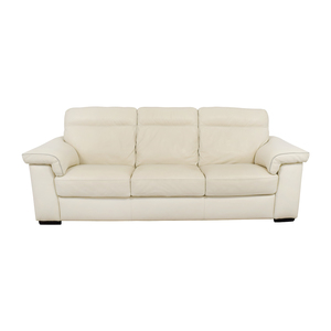 shop White Leather Three-Cushion Sofa
