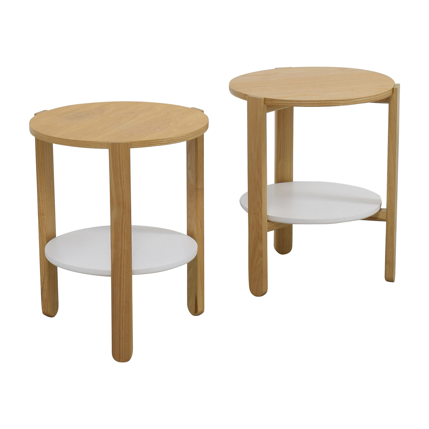 Top Selling Plywood Round Side Wooden Coffee Table And: Umbra Umbra Two-toned Round Wood Side Tables