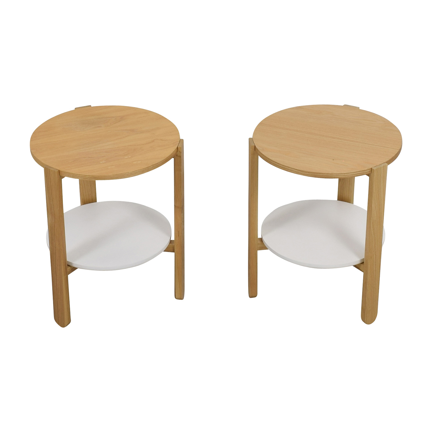 Umbra Umbra Two Toned Round Wood Side Tables Used