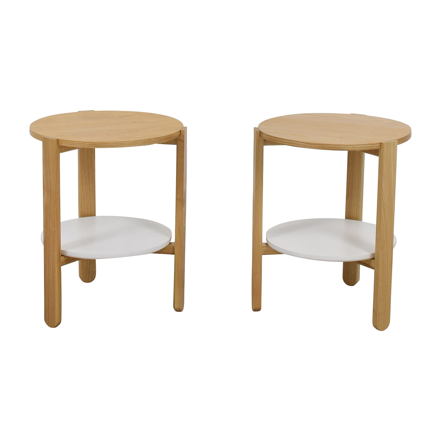 Umbra Umbra Two-toned Round Wood Side Tables second hand