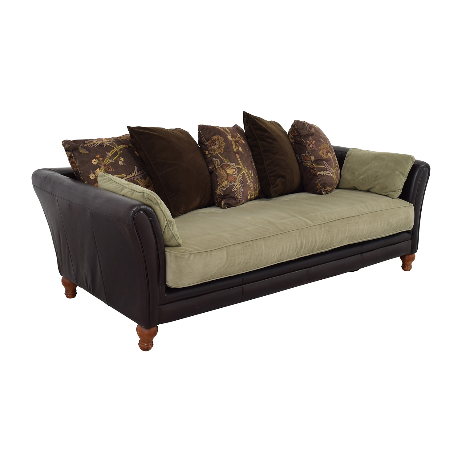 90 off leather and suede three seat sofa sofas. Black Bedroom Furniture Sets. Home Design Ideas
