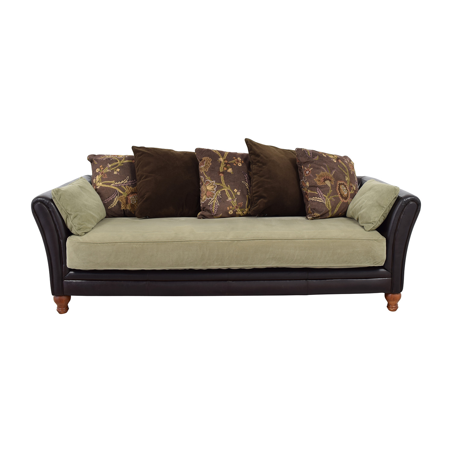 Leather and Suede Three-Seat Sofa Classic Sofas