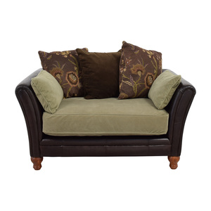 Brown Leather Loveseat With Sage Cushion used