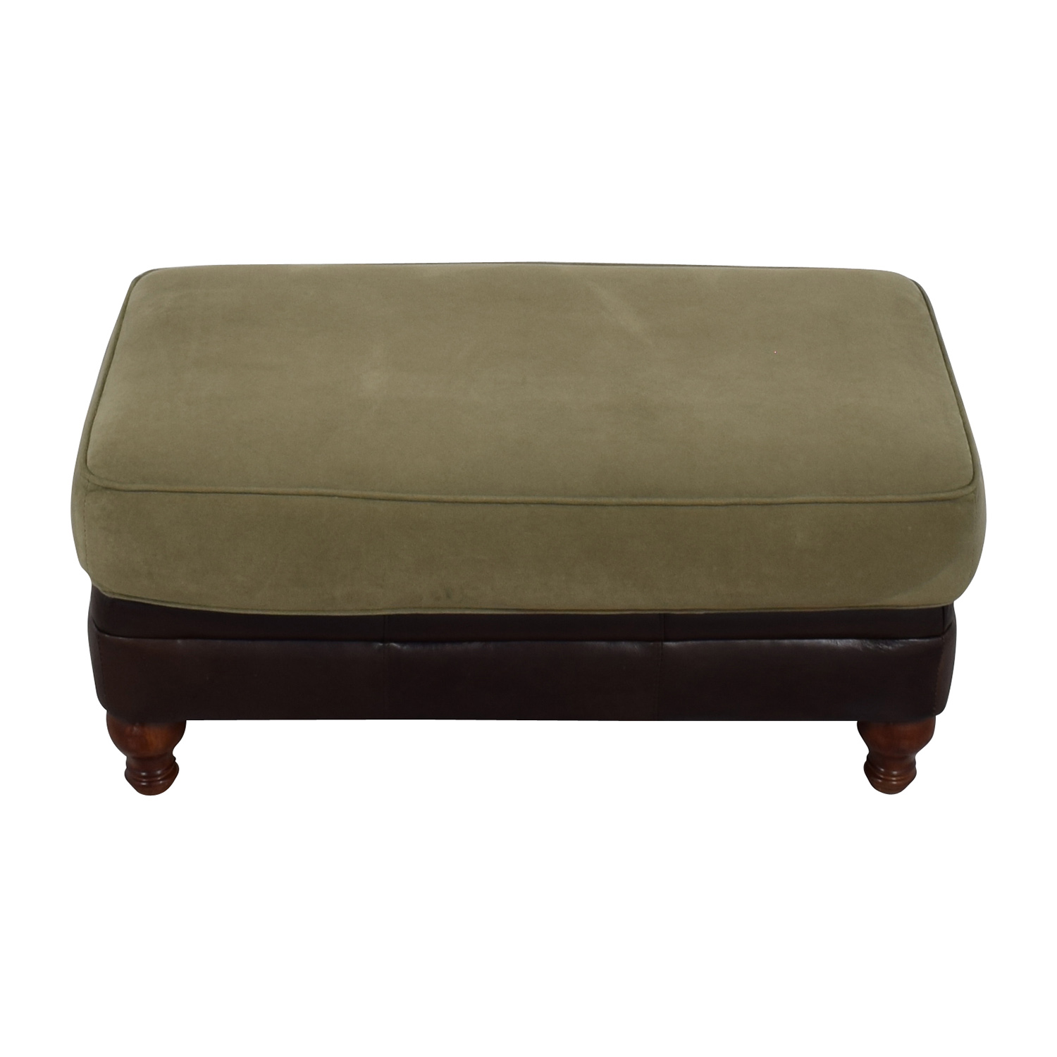 ... Dark Brown Leather and Sage Green Ottoman Brown/Beige ...