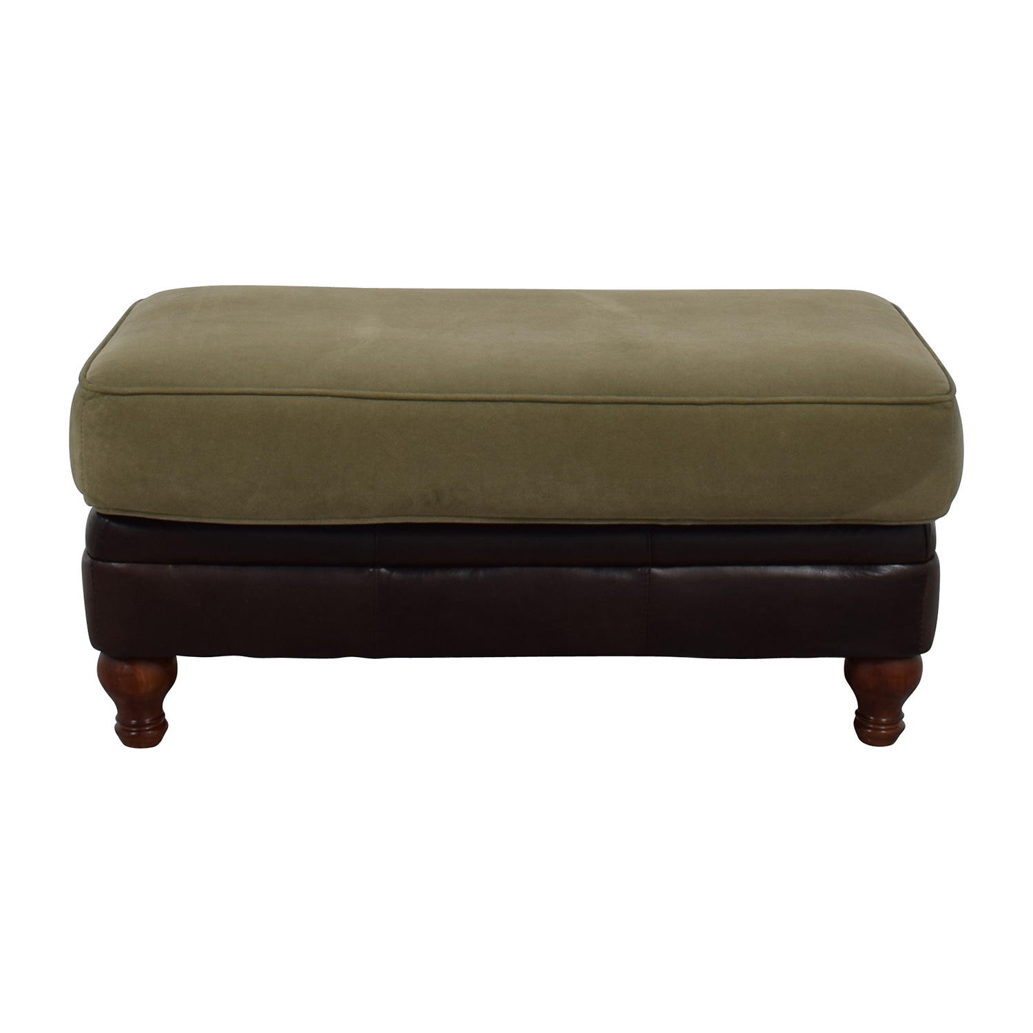 Dark Brown Leather and Sage Green Ottoman
