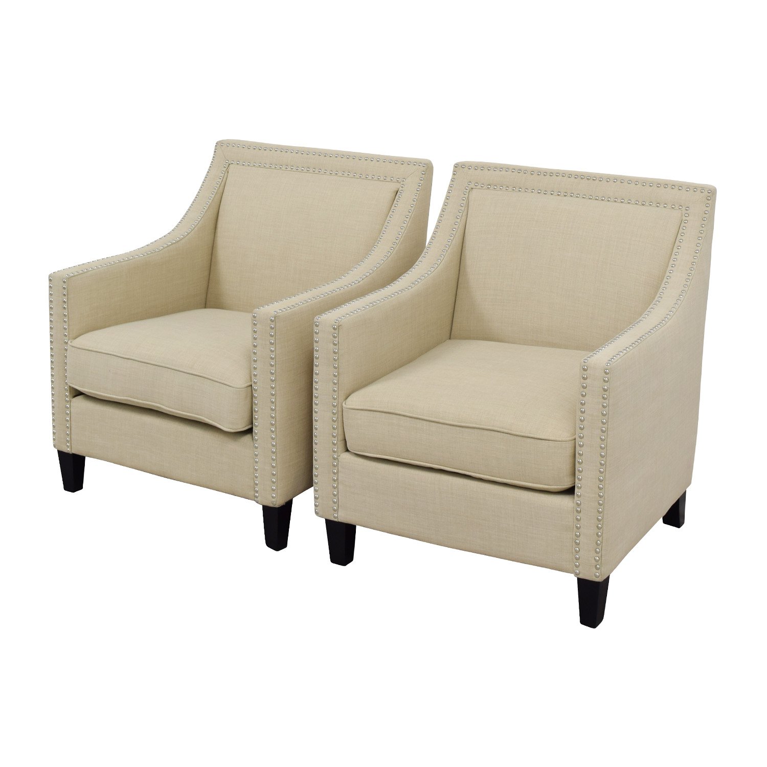 Off studded beige sofa arm chairs