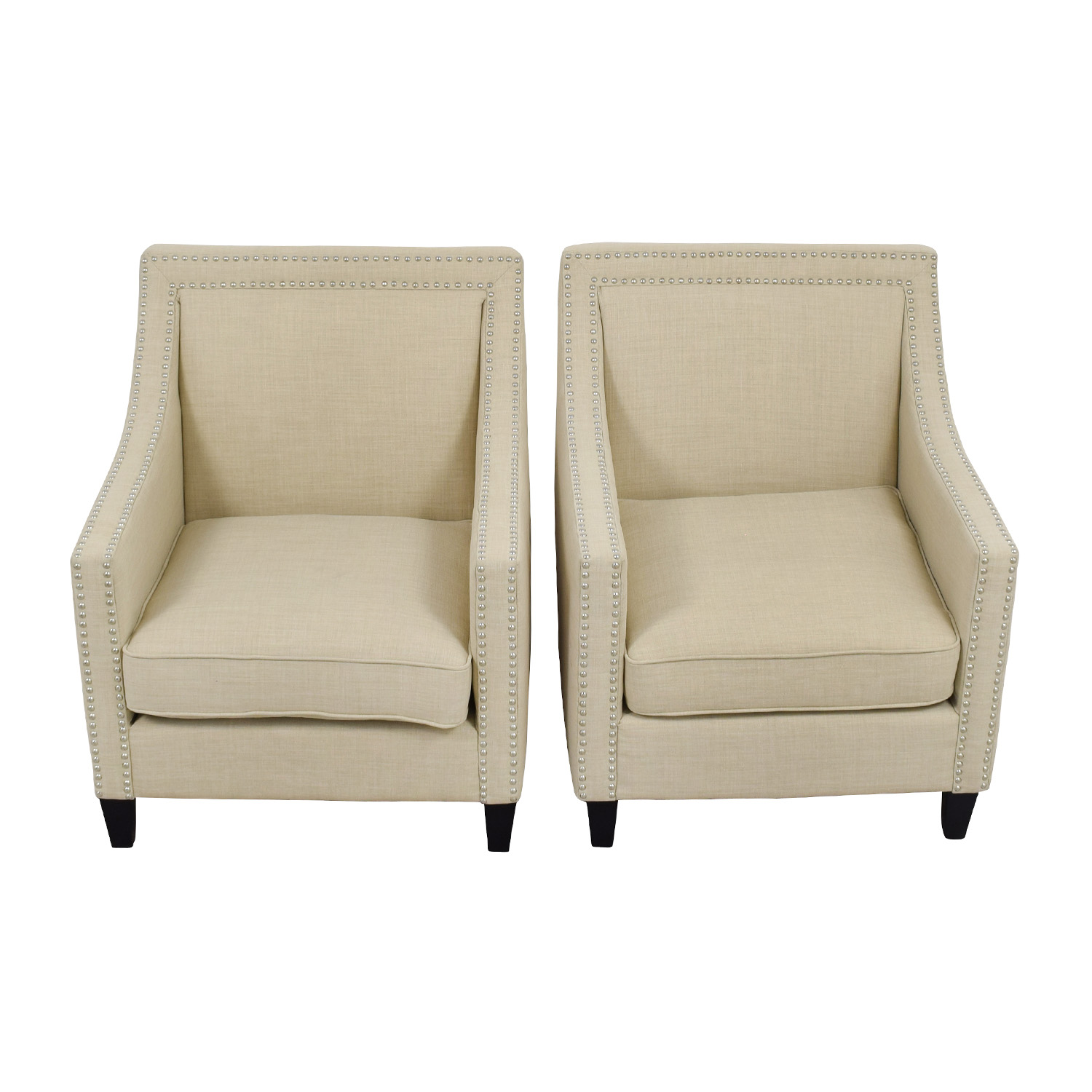 67 off studded beige sofa arm chairs chairs for Studded sofa sets
