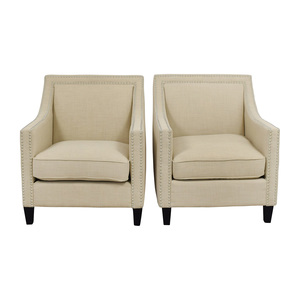 shop  Studded Beige Sofa Arm Chairs online