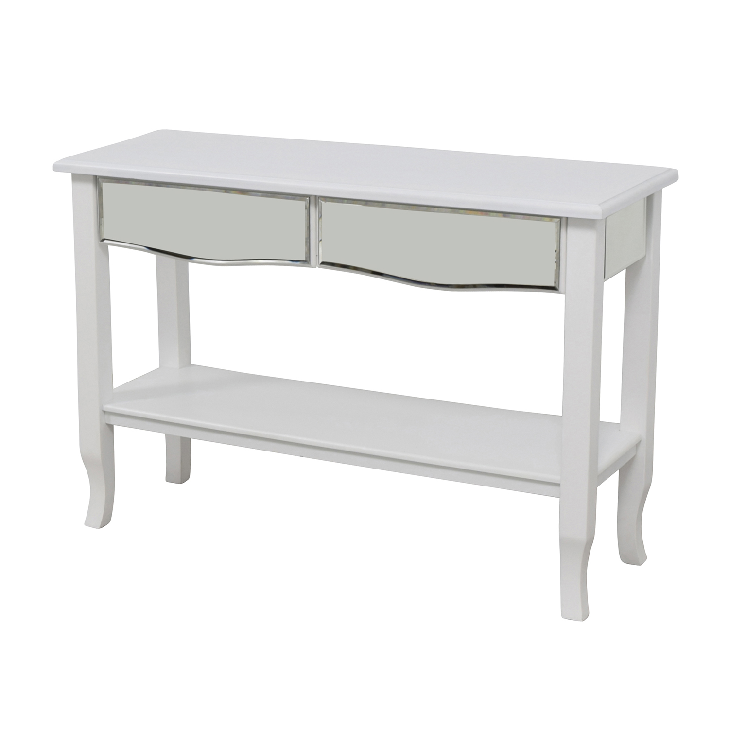 85 OFF White Mirrored Console Table with TwoDrawers Tables