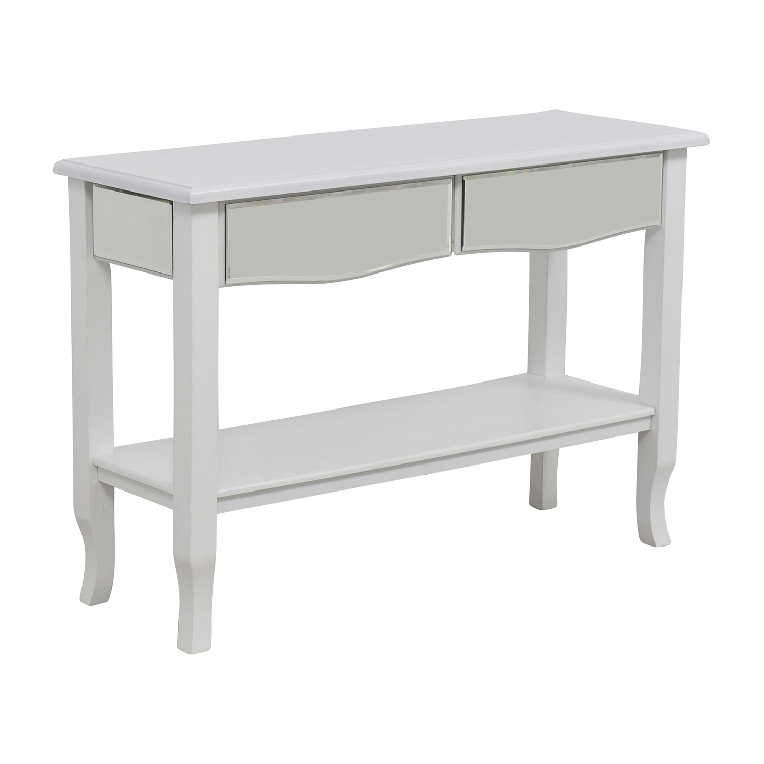 85 off white mirrored console table with two drawers for Mirrored console with drawers