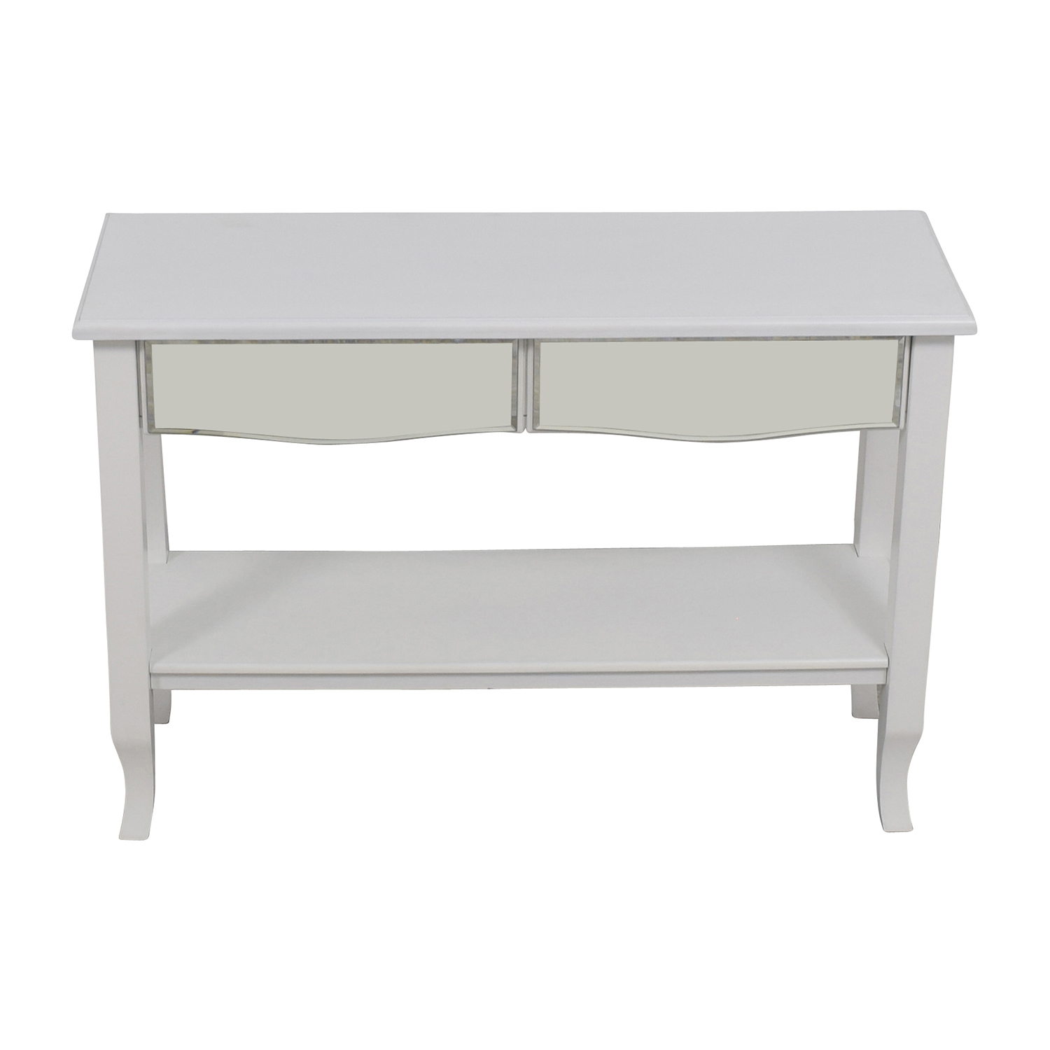 buy White Mirrored Console Table with Two-Drawers